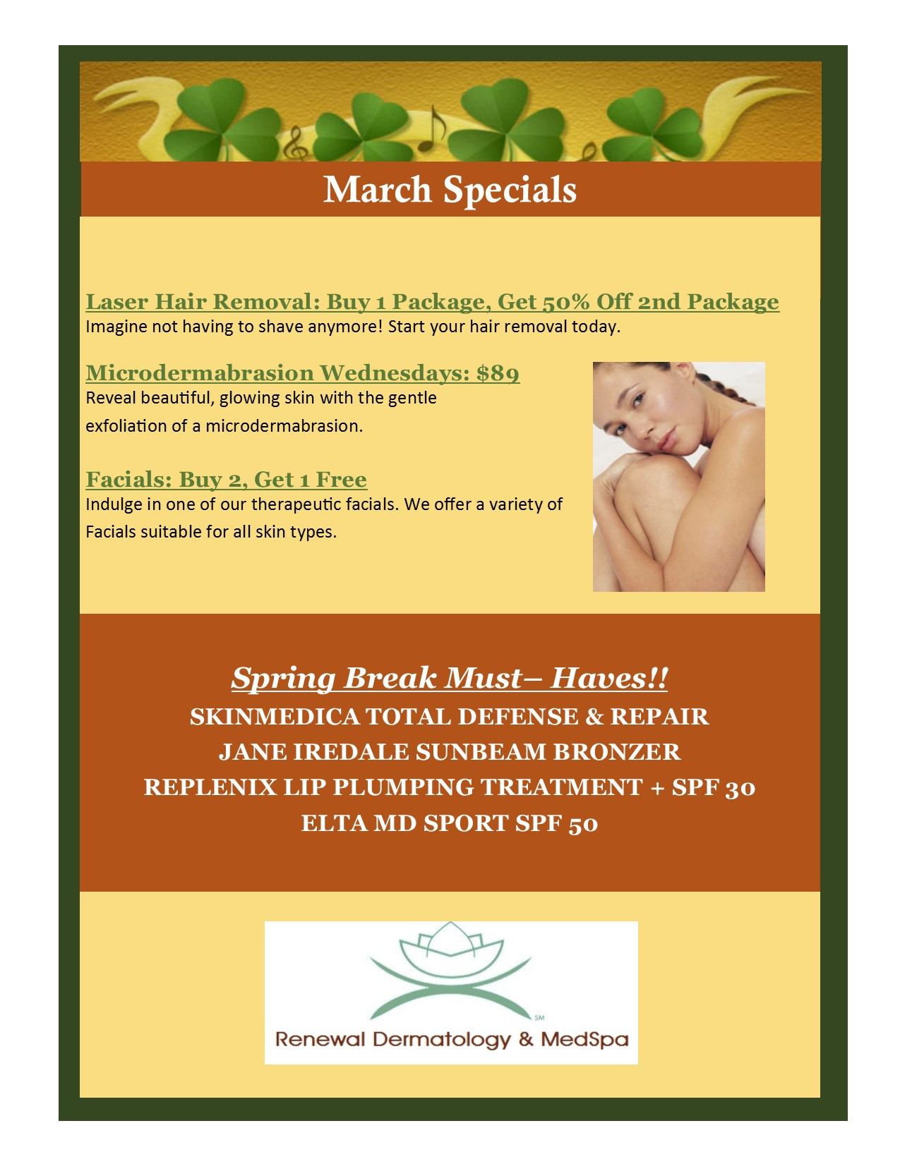 March 2018 Specials Flyer pic